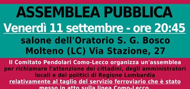 Il Comitato Pendolari Como-Lecco organizza un'assemblea per richiamare l'attenzione dei cittadini, degli amministratori locali e dei politici di Regione Lombardia relativamente al taglio del servizio ferroviario che è stato messo […]